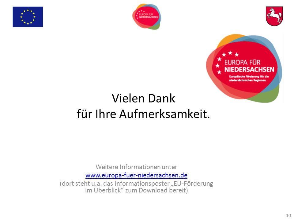 """Vielen Dank für Ihre Aufmerksamkeit. Weitere Informationen unter www.europa-fuer-niedersachsen.de (dort steht u.a. das Informationsposter """"EU-Förderun"""
