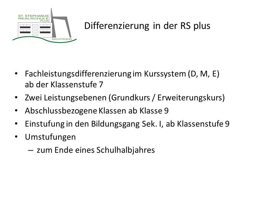 Differenzierung in der RS plus Fachleistungsdifferenzierung im Kurssystem (D, M, E) ab der Klassenstufe 7 Zwei Leistungsebenen (Grundkurs / Erweiterun