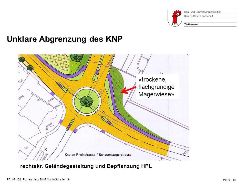 PF_151102_Planeranlass 2015-Martin Schaffer_Sr Folie Unklare Abgrenzung des KNP 10 rechtskr. Geländegestaltung und Bepflanzung HPL «trockene, flachgrü