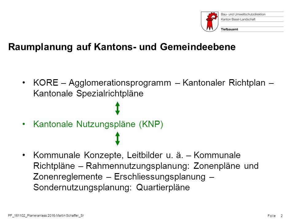 PF_151102_Planeranlass 2015-Martin Schaffer_Sr Folie Raumplanung auf Kantons- und Gemeindeebene KORE – Agglomerationsprogramm – Kantonaler Richtplan –