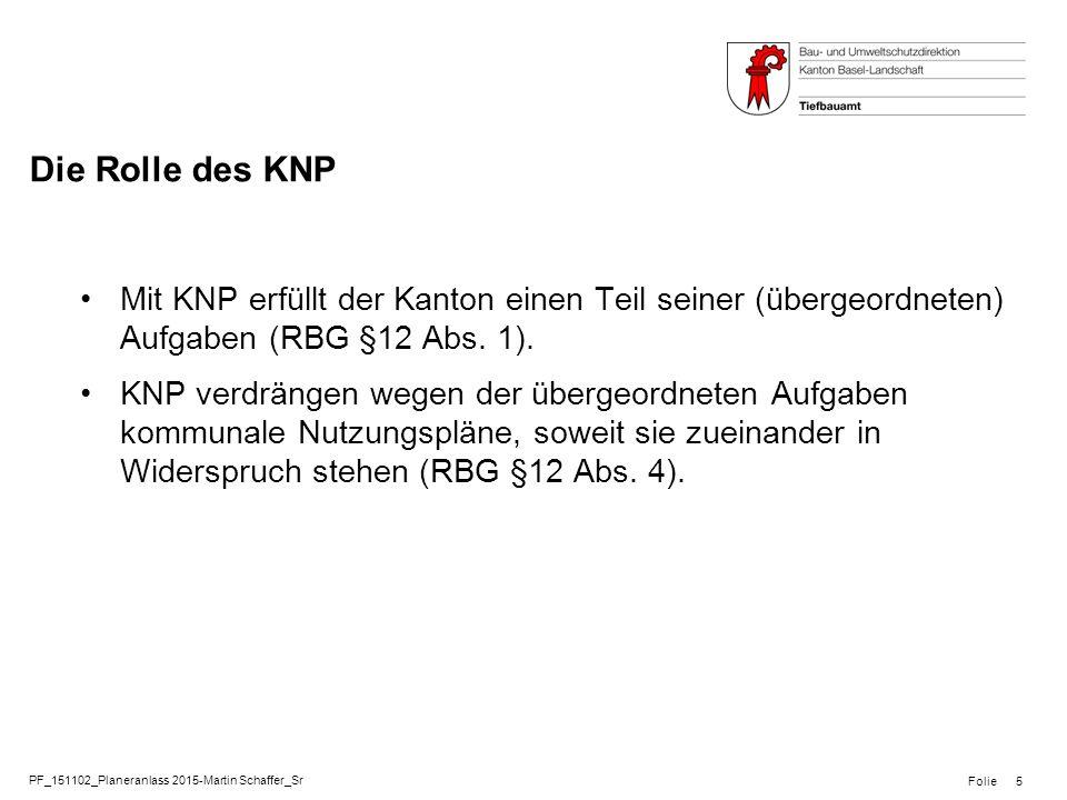 PF_151102_Planeranlass 2015-Martin Schaffer_Sr Folie Die Rolle des KNP Mit KNP erfüllt der Kanton einen Teil seiner (übergeordneten) Aufgaben (RBG §12 Abs.