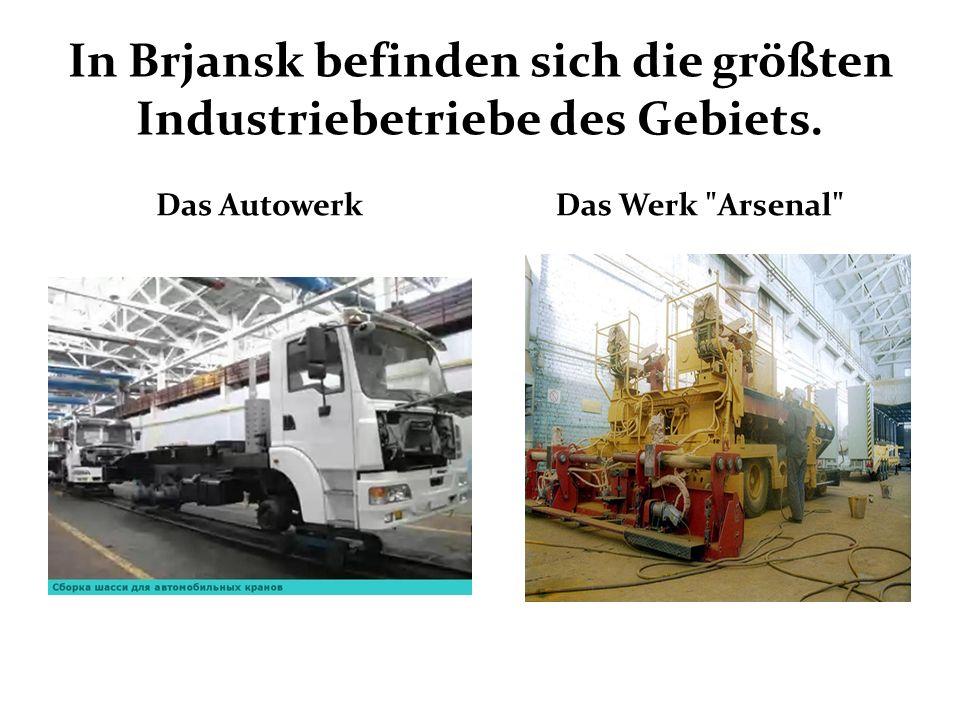 In Brjansk befinden sich die größten Industriebetriebe des Gebiets. Das AutowerkDas Werk Arsenal