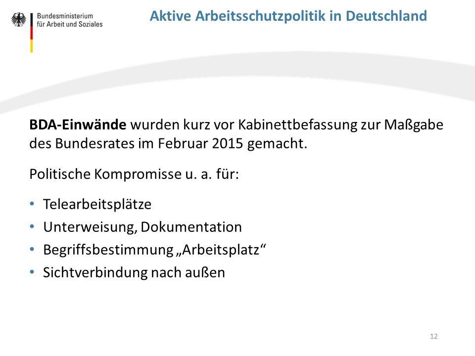 12 Aktive Arbeitsschutzpolitik in Deutschland BDA-Einwände wurden kurz vor Kabinettbefassung zur Maßgabe des Bundesrates im Februar 2015 gemacht. Poli