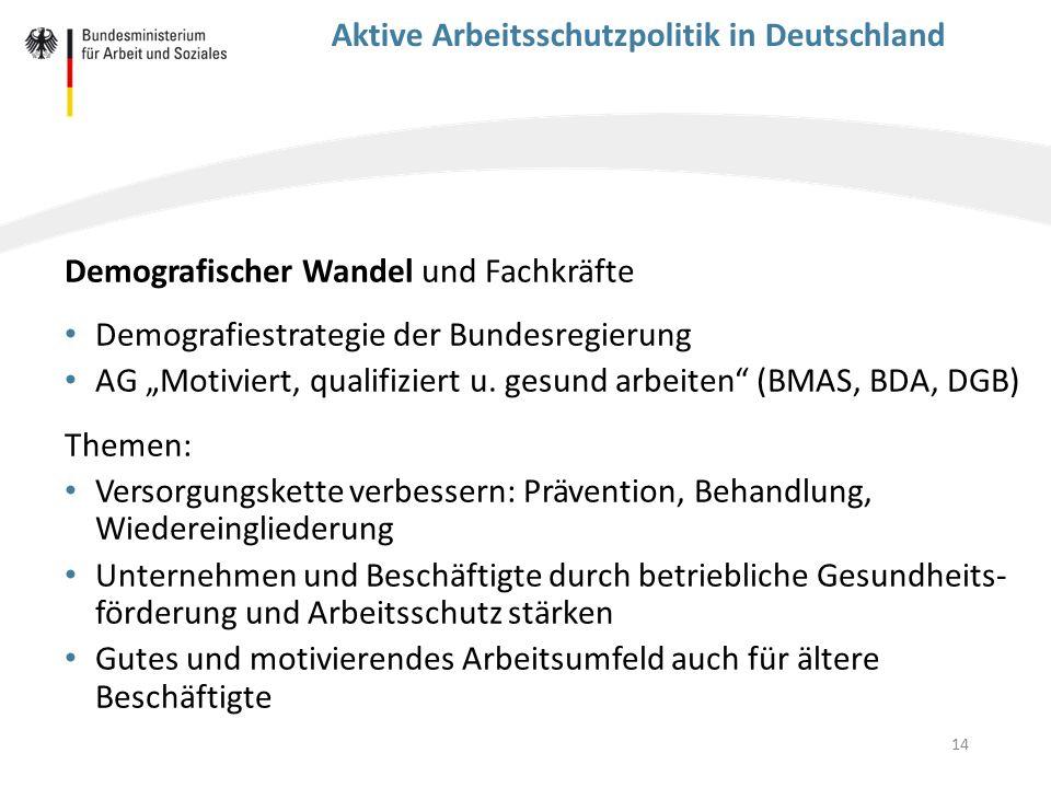 """14 Aktive Arbeitsschutzpolitik in Deutschland Demografischer Wandel und Fachkräfte Demografiestrategie der Bundesregierung AG """"Motiviert, qualifiziert"""