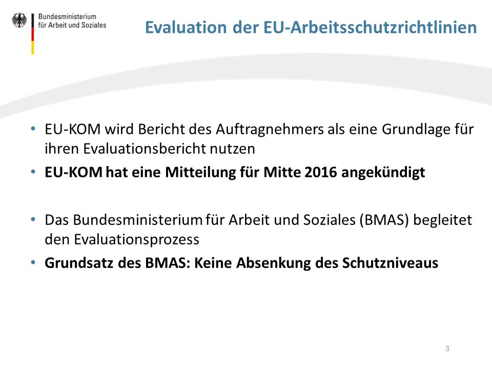 3 Evaluation der EU-Arbeitsschutzrichtlinien EU-KOM wird Bericht des Auftragnehmers als eine Grundlage für ihren Evaluationsbericht nutzen EU-KOM hat