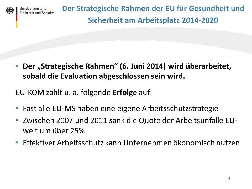 """4 Der Strategische Rahmen der EU für Gesundheit und Sicherheit am Arbeitsplatz 2014-2020 Der """"Strategische Rahmen"""" (6. Juni 2014) wird überarbeitet, s"""