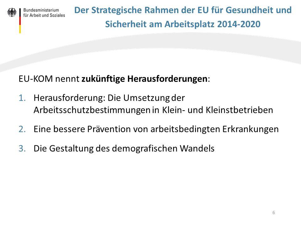 6 Der Strategische Rahmen der EU für Gesundheit und Sicherheit am Arbeitsplatz 2014-2020 EU-KOM nennt zukünftige Herausforderungen: 1.Herausforderung: