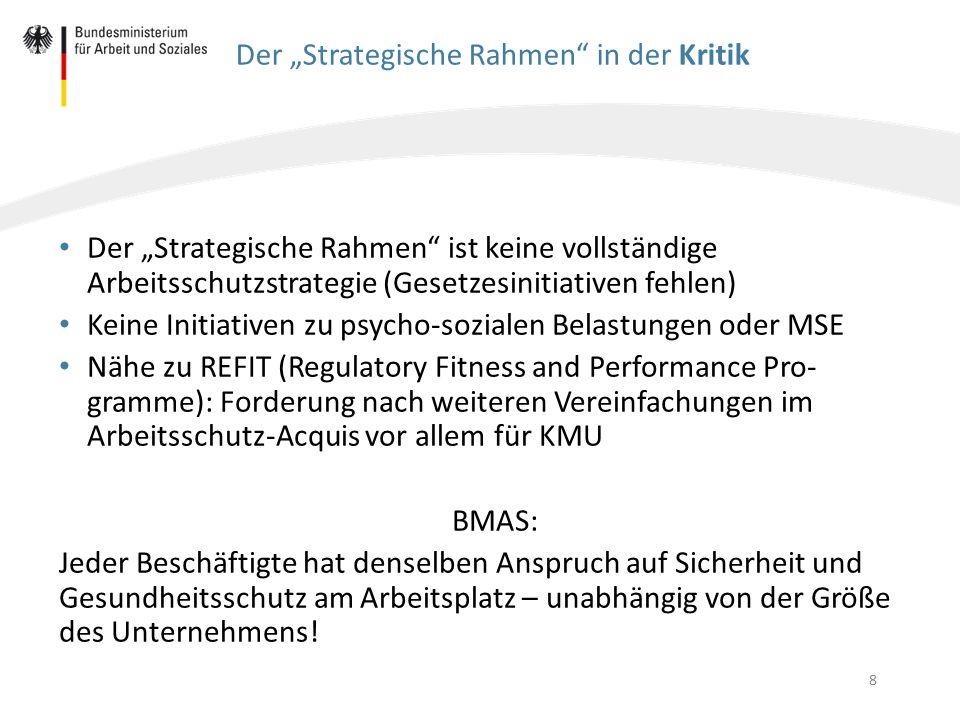 """8 Der """"Strategische Rahmen"""" in der Kritik Der """"Strategische Rahmen"""" ist keine vollständige Arbeitsschutzstrategie (Gesetzesinitiativen fehlen) Keine I"""