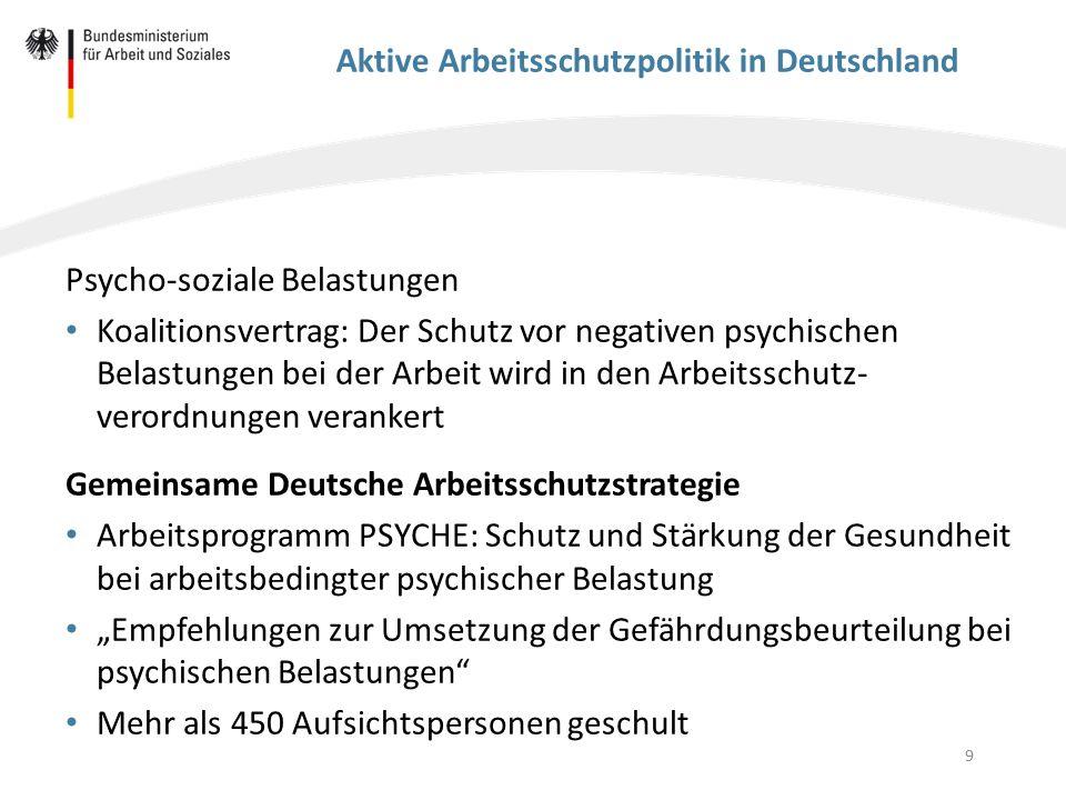 9 Aktive Arbeitsschutzpolitik in Deutschland Psycho-soziale Belastungen Koalitionsvertrag: Der Schutz vor negativen psychischen Belastungen bei der Ar