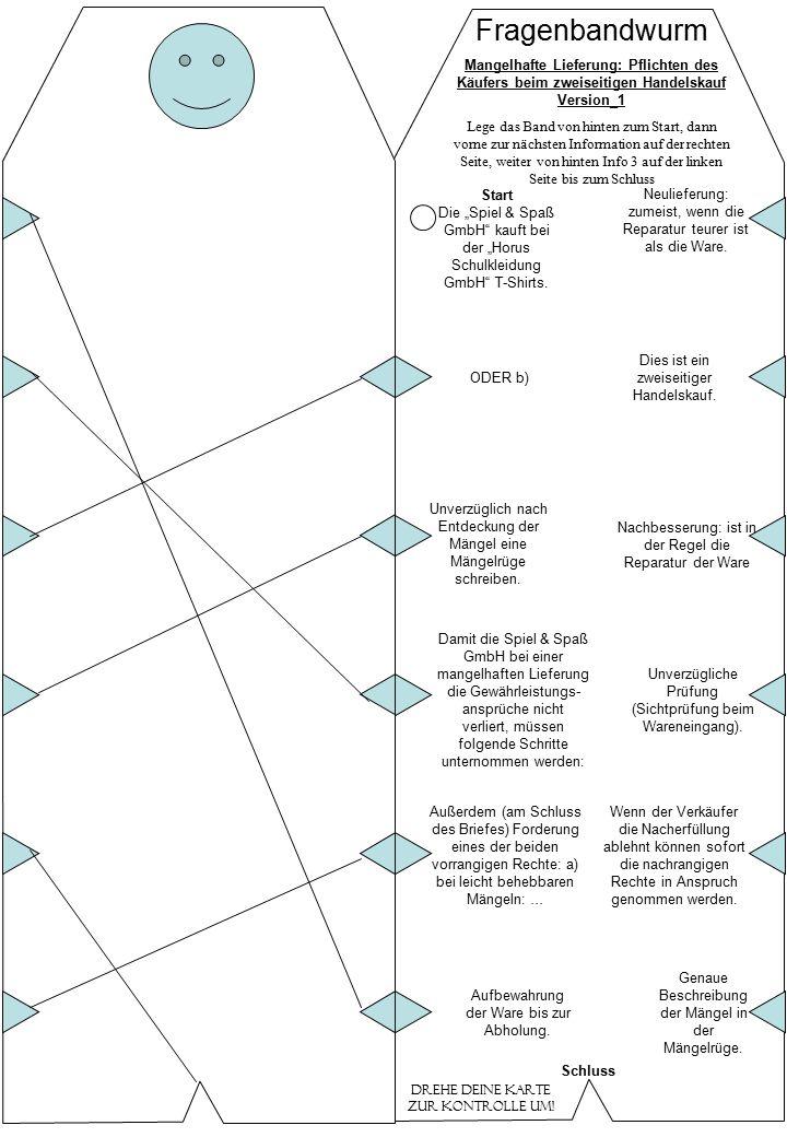 Fragenbandwurm Mangelhafte Lieferung: Pflichten des Käufers beim zweiseitigen Handelskauf Version_2 Lege das Band von hinten zum Start, dann vorne zur nächsten Information auf der rechten Seite, weiter von hinten Info 3 auf der linken Seite… bis zum Schluss Drehe deine Karte zur Kontrolle um.