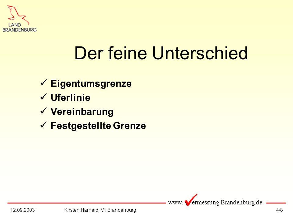 www. ermessung.Brandenburg.de 4/812.09.2003Kirsten Harneid, MI Brandenburg Der feine Unterschied Eigentumsgrenze Uferlinie Vereinbarung Festgestellte