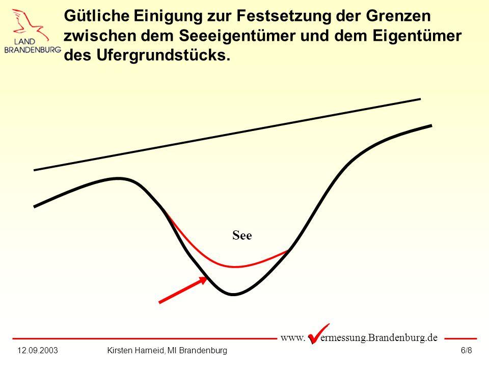 www. ermessung.Brandenburg.de 6/812.09.2003Kirsten Harneid, MI Brandenburg Gütliche Einigung zur Festsetzung der Grenzen zwischen dem Seeeigentümer un