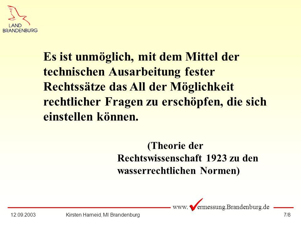 www. ermessung.Brandenburg.de 7/812.09.2003Kirsten Harneid, MI Brandenburg Es ist unmöglich, mit dem Mittel der technischen Ausarbeitung fester Rechts