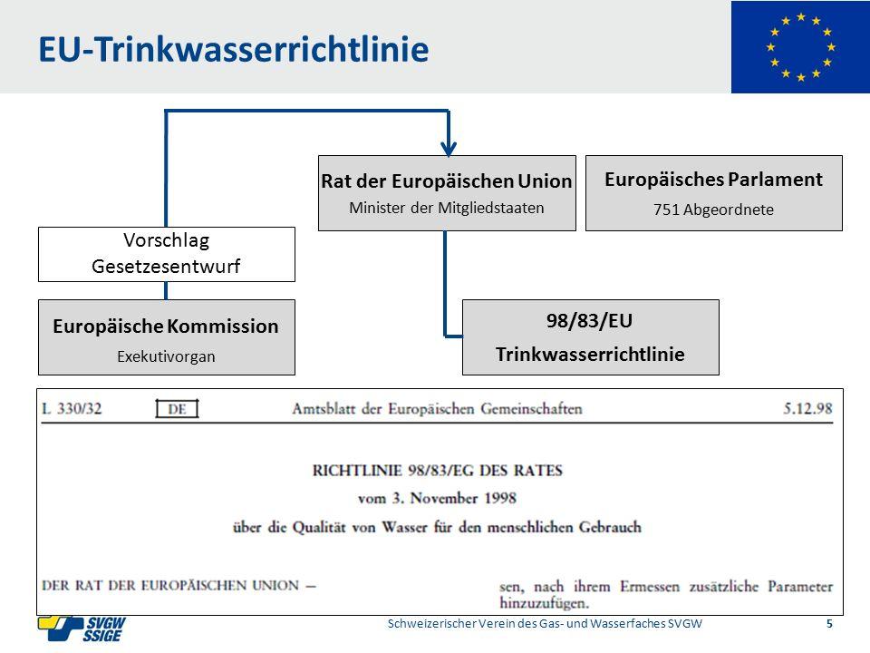 1/2Right11.60Left 11.601/2 7.60 Placeholder 6.00 6.80 Placeholder title Placeholder Top 9.20 Bottom 9.20 Center 0.80 Internationale Normierung harmonisierter Bereich Schweizerischer Verein des Gas- und Wasserfaches SVGW 16 89/106/EWG Bauprodukterichtlinie Europäische Kommission DG Enterprise Mandat M/136 Bauprodukte in Kontakt mit Wasser für den menschlichen Gebrauch Das Mandat 136 wurde 2001 an das CEN erteilt Bis heute sind unter diesem Mandat keine harmonisierte EN Normen erstellt worden Grund dafür ist die in Europa nicht harmonisierte Beurteilung der hygienischen Unbedenklichkeit Keine CE-Konformitätserklärung für solche Produkte möglich Die Inverkehrbringung erfolgt weiterhin im nicht harmonisierten Bereich aufgrund von EN Produktenormen