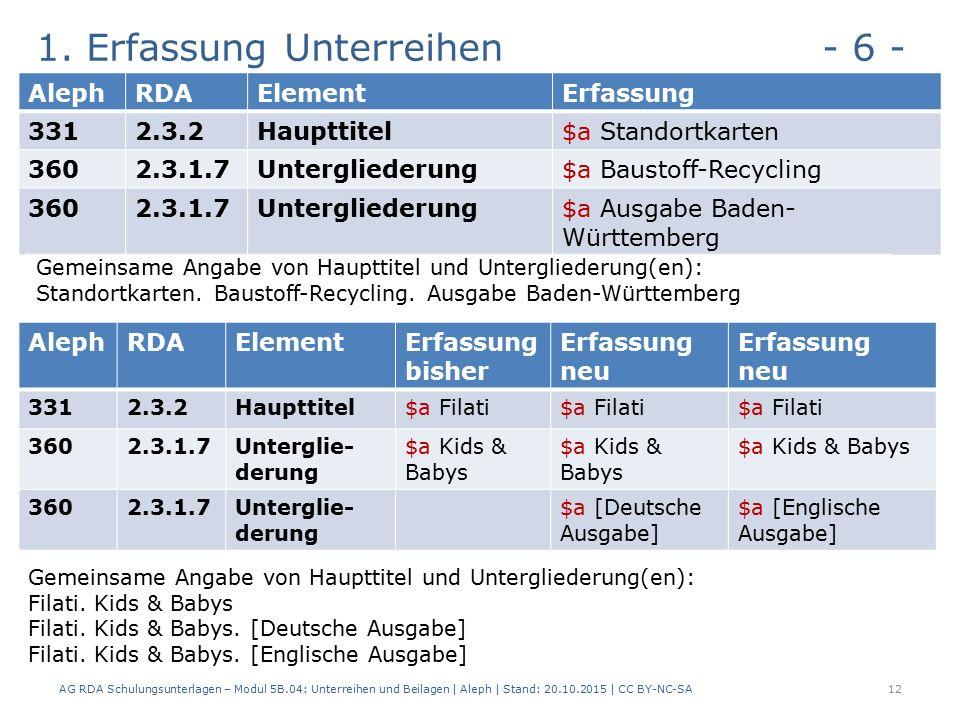 1. Erfassung Unterreihen - 6 - AG RDA Schulungsunterlagen – Modul 5B.04: Unterreihen und Beilagen | Aleph | Stand: 20.10.2015 | CC BY-NC-SA12 AlephRDA