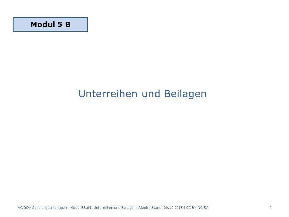 Unterreihen und Beilagen AG RDA Schulungsunterlagen – Modul 5B.04: Unterreihen und Beilagen | Aleph | Stand: 20.10.2015 | CC BY-NC-SA2 Modul 5 B