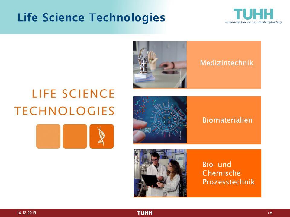 18 14.12.2015 Life Science Technologies Medizintechnik Biomaterialien Bio- und Chemische Prozesstechnik