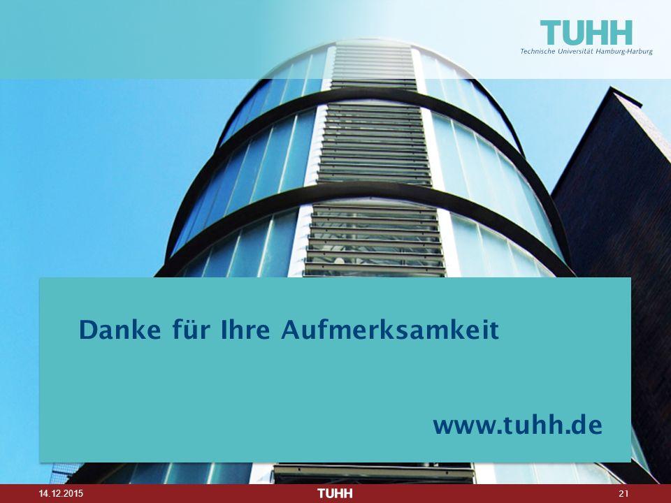 21 14.12.2015 Danke für Ihre Aufmerksamkeit www.tuhh.de