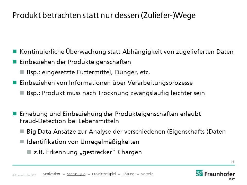 © Fraunhofer ISST Produkt betrachten statt nur dessen (Zuliefer-)Wege Kontinuierliche Überwachung statt Abhängigkeit von zugelieferten Daten Einbeziehen der Produkteigenschaften Bsp.: eingesetzte Futtermittel, Dünger, etc.