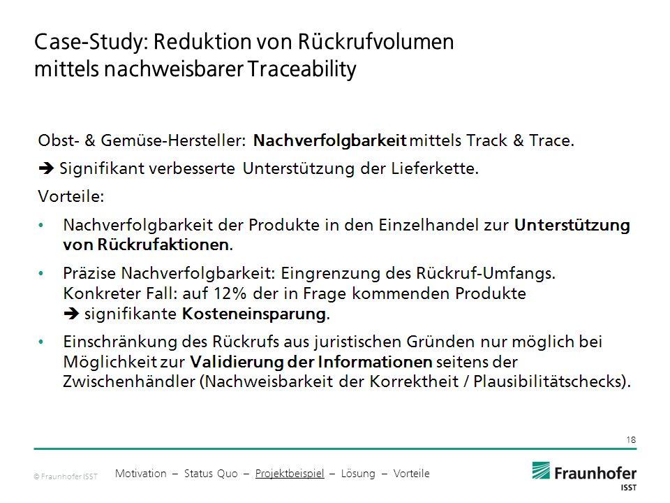 © Fraunhofer ISST Case-Study: Reduktion von Rückrufvolumen mittels nachweisbarer Traceability 18 Motivation – Status Quo – Projektbeispiel – Lösung – Vorteile