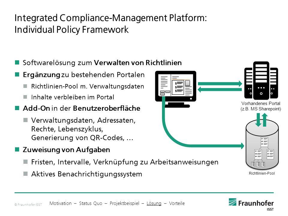 © Fraunhofer ISST Richtlinien-Pool Integrated Compliance-Management Platform: Individual Policy Framework Softwarelösung zum Verwalten von Richtlinien Ergänzung zu bestehenden Portalen Richtlinien-Pool m.