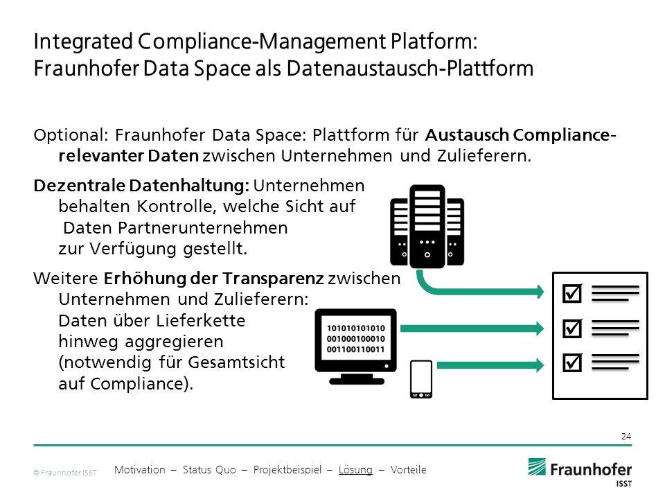 © Fraunhofer ISST Integrated Compliance-Management Platform: Fraunhofer Data Space als Datenaustausch-Plattform 24 Motivation – Status Quo – Projektbeispiel – Lösung – Vorteile       Optional: Fraunhofer Data Space: Plattform für Austausch Compliance- relevanter Daten zwischen Unternehmen und Zulieferern.