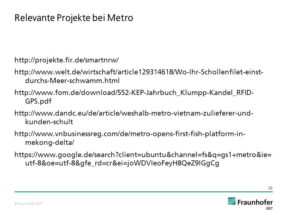 © Fraunhofer ISST Relevante Projekte bei Metro http://projekte.fir.de/smartnrw/ http://www.welt.de/wirtschaft/article129314618/Wo-Ihr-Schollenfilet-einst- durchs-Meer-schwamm.html http://www.fom.de/download/552-KEP-Jahrbuch_Klumpp-Kandel_RFID- GPS.pdf http://www.dandc.eu/de/article/weshalb-metro-vietnam-zulieferer-und- kunden-schult http://www.vnbusinessreg.com/de/metro-opens-first-fish-platform-in- mekong-delta/ https://www.google.de/search?client=ubuntu&channel=fs&q=gs1+metro&ie= utf-8&oe=utf-8&gfe_rd=cr&ei=joWDVIeoFeyH8QeZ9IGgCg 28