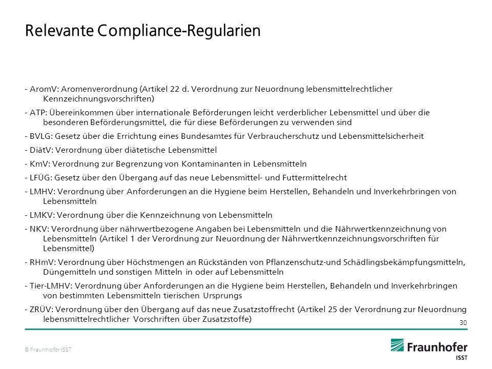 © Fraunhofer ISST 30 Relevante Compliance-Regularien - AromV: Aromenverordnung (Artikel 22 d.
