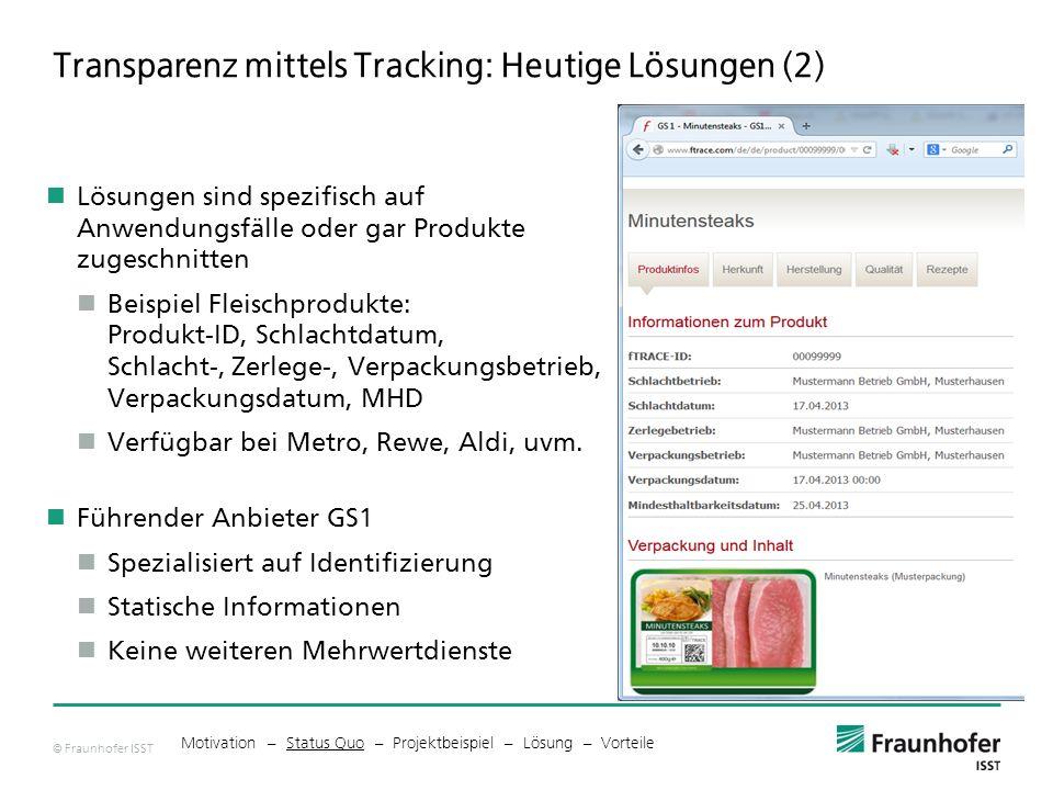 © Fraunhofer ISST Transparenz mittels Tracking: Heutige Lösungen (2) Lösungen sind spezifisch auf Anwendungsfälle oder gar Produkte zugeschnitten Beispiel Fleischprodukte: Produkt-ID, Schlachtdatum, Schlacht-, Zerlege-, Verpackungsbetrieb, Verpackungsdatum, MHD Verfügbar bei Metro, Rewe, Aldi, uvm.