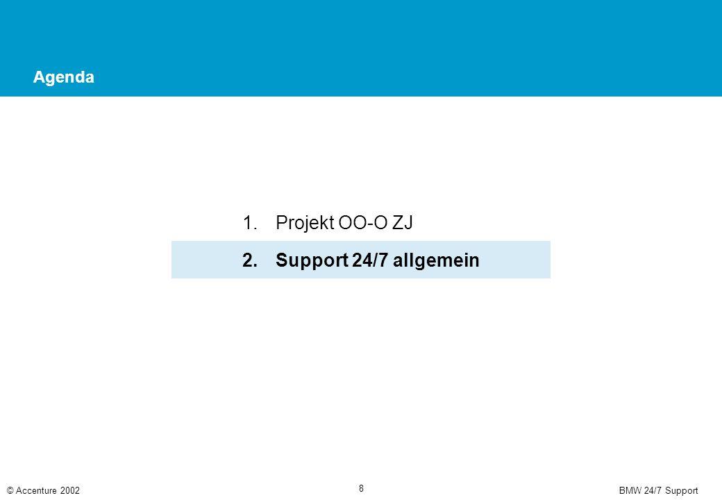 BMW 24/7 Support© Accenture 2002 8 Agenda 1.Projekt OO-O ZJ 2.Support 24/7 allgemein