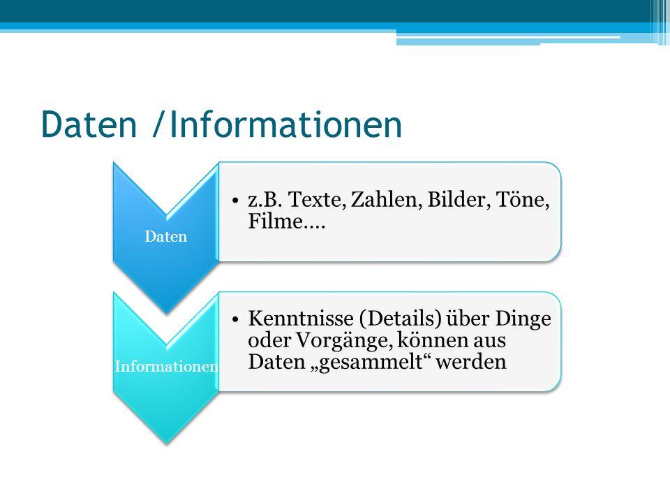 """Daten /Informationen Daten z.B. Texte, Zahlen, Bilder, Töne, Filme…. Informationen Kenntnisse (Details) über Dinge oder Vorgänge, können aus Daten """"ge"""