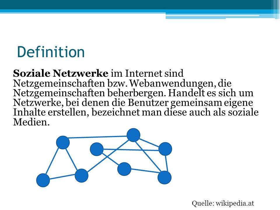 Definition Soziale Netzwerke im Internet sind Netzgemeinschaften bzw. Webanwendungen, die Netzgemeinschaften beherbergen. Handelt es sich um Netzwerke