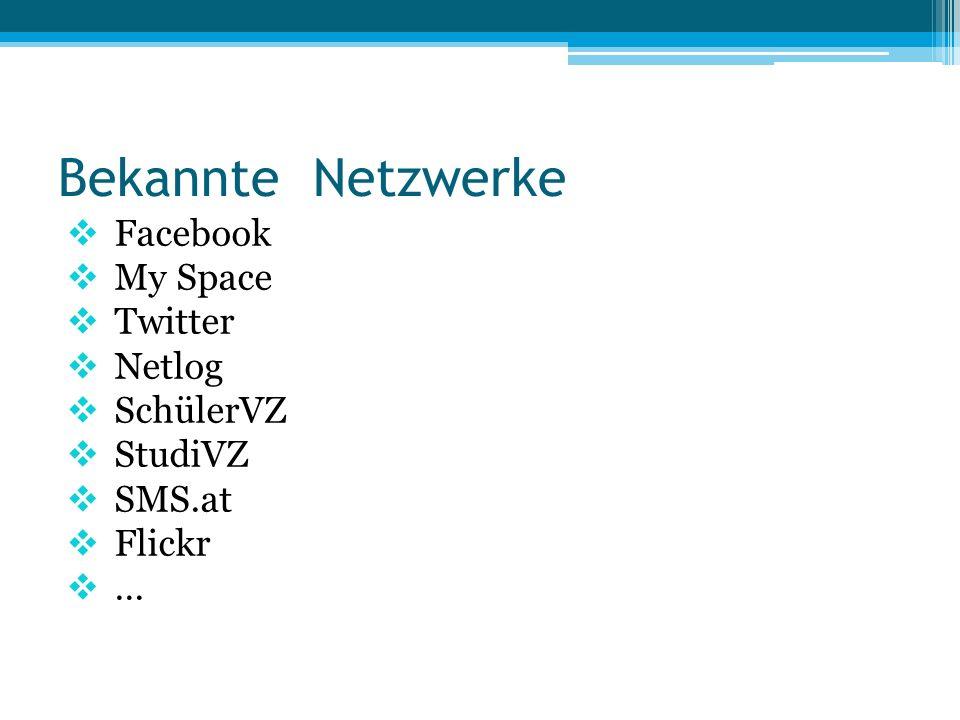 Soziale Netzwerke / Merkmale  Persönliches Profil  Kontaktliste / Adressbuch  Empfangen / Versenden von Nachrichten  Blog / Veröffentlichung von Statusmeldungen, Bildern, Videos,…  Austausch von Meinungen, Eindrücken, Erfahrungen  …