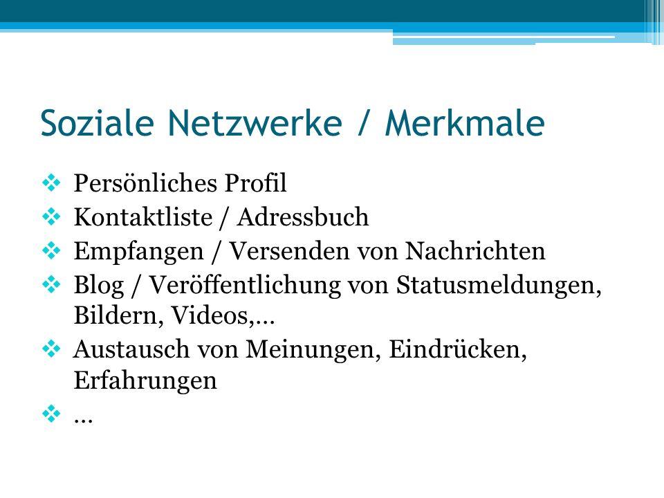 Soziale Netzwerke / Merkmale  Persönliches Profil  Kontaktliste / Adressbuch  Empfangen / Versenden von Nachrichten  Blog / Veröffentlichung von S