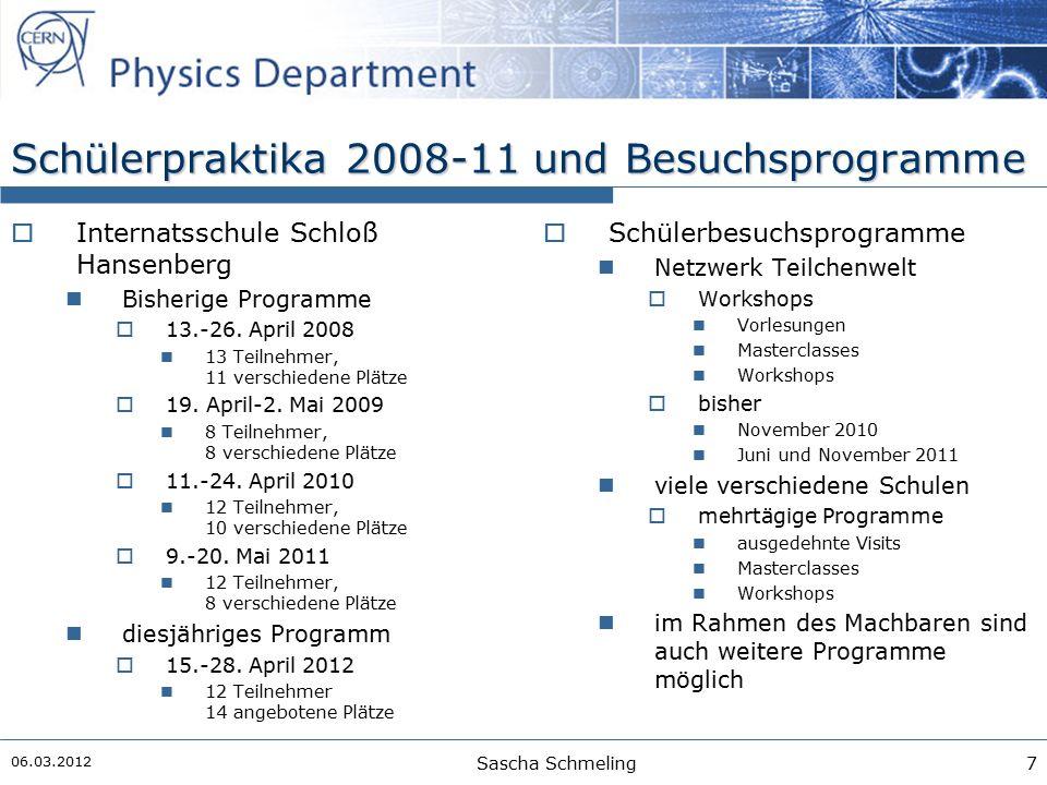 Schülerpraktika 2008-11 und Besuchsprogramme  Internatsschule Schloß Hansenberg Bisherige Programme  13.-26.