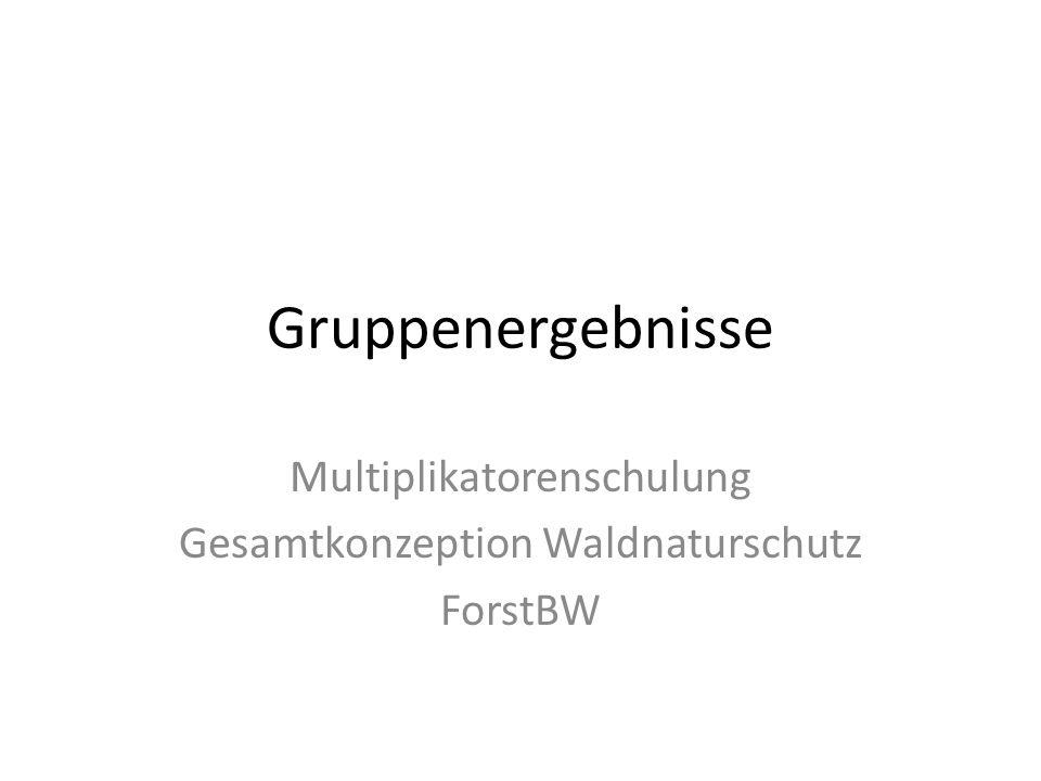 Gruppenergebnisse Multiplikatorenschulung Gesamtkonzeption Waldnaturschutz ForstBW