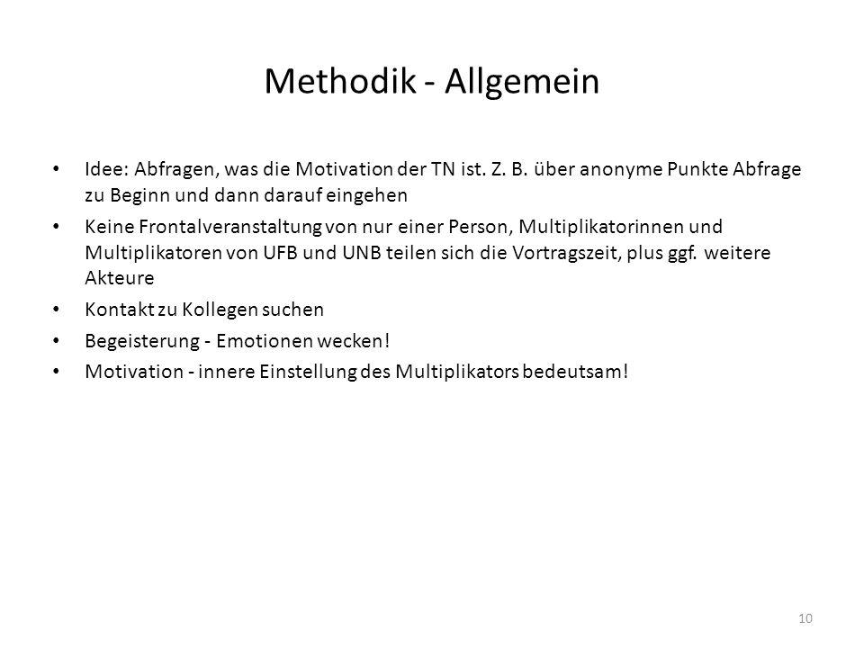 Methodik - Allgemein Idee: Abfragen, was die Motivation der TN ist. Z. B. über anonyme Punkte Abfrage zu Beginn und dann darauf eingehen Keine Frontal