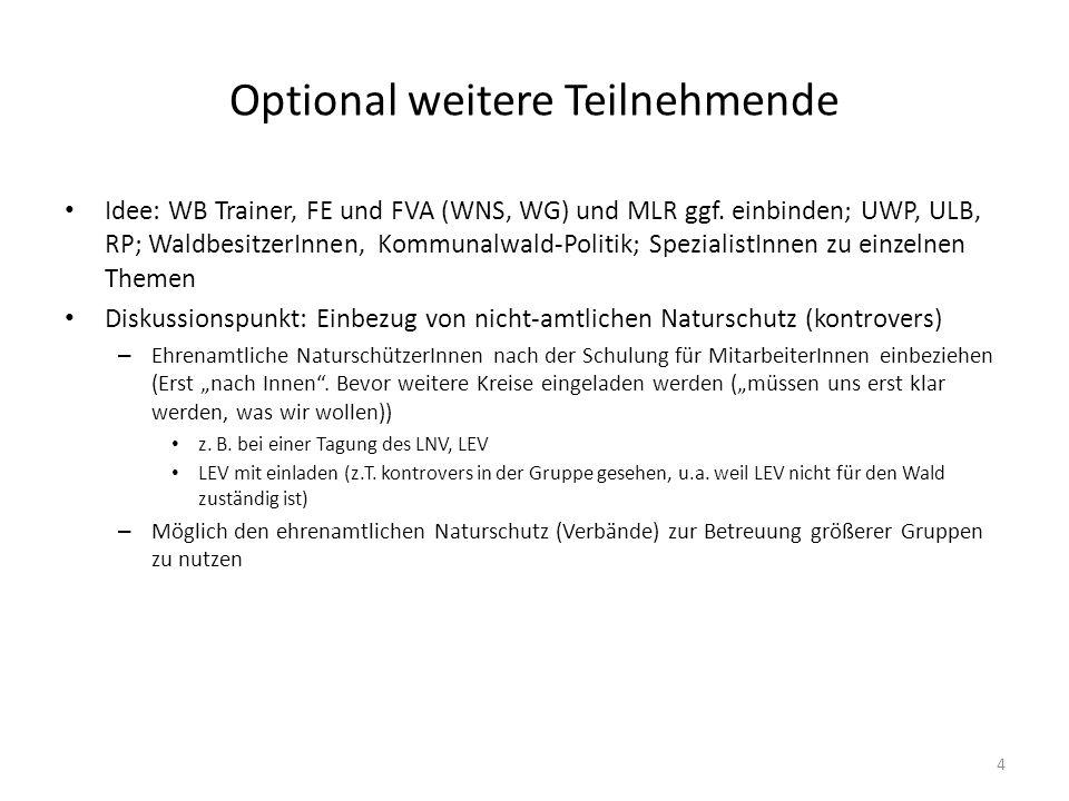 Optional weitere Teilnehmende Idee: WB Trainer, FE und FVA (WNS, WG) und MLR ggf. einbinden; UWP, ULB, RP; WaldbesitzerInnen, Kommunalwald-Politik; Sp