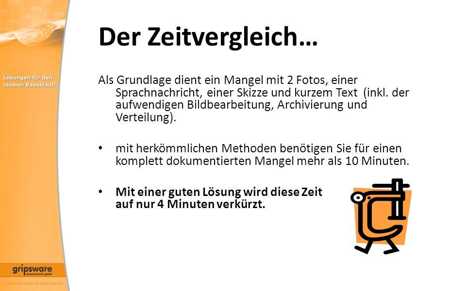Der Zeitvergleich… Als Grundlage dient ein Mangel mit 2 Fotos, einer Sprachnachricht, einer Skizze und kurzem Text (inkl.