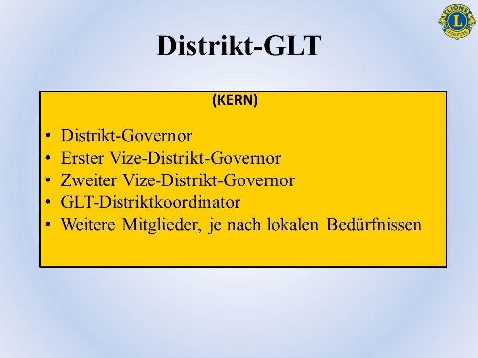 Distrikt-GLT Distrikt-Governor Erster Vize-Distrikt-Governor Zweiter Vize-Distrikt-Governor GLT-Distriktkoordinator Weitere Mitglieder, je nach lokalen Bedürfnissen (KERN)