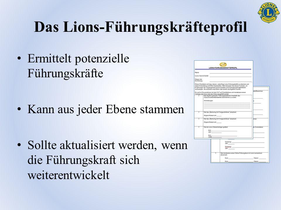 Das Lions-Führungskräfteprofil Ermittelt potenzielle Führungskräfte Kann aus jeder Ebene stammen Sollte aktualisiert werden, wenn die Führungskraft sich weiterentwickelt