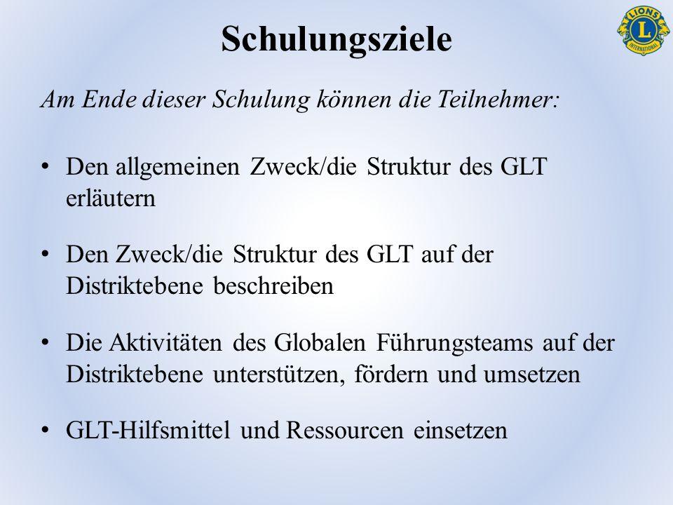 Schulungsziele Am Ende dieser Schulung können die Teilnehmer: Den allgemeinen Zweck/die Struktur des GLT erläutern Den Zweck/die Struktur des GLT auf der Distriktebene beschreiben Die Aktivitäten des Globalen Führungsteams auf der Distriktebene unterstützen, fördern und umsetzen GLT-Hilfsmittel und Ressourcen einsetzen