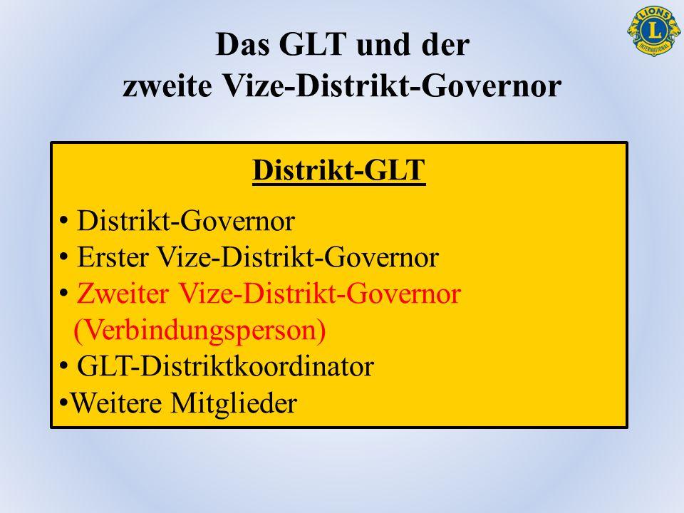 Das GLT und der zweite Vize-Distrikt-Governor Distrikt-GLT Distrikt-Governor Erster Vize-Distrikt-Governor Zweiter Vize-Distrikt-Governor (Verbindungsperson) GLT-Distriktkoordinator Weitere Mitglieder