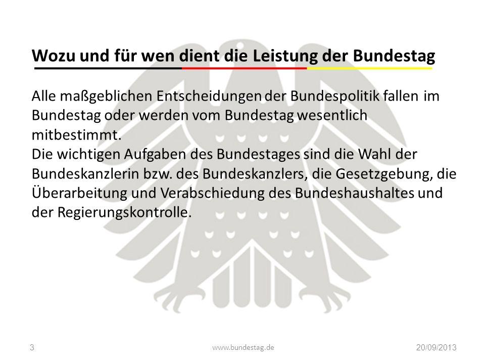 Wozu und für wen dient die Leistung der Bundestag Alle maßgeblichen Entscheidungen der Bundespolitik fallen im Bundestag oder werden vom Bundestag wes