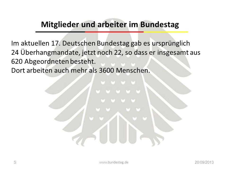 www.bundestag.de20/09/20135 Mitglieder und arbeiter im Bundestag Im aktuellen 17. Deutschen Bundestag gab es ursprünglich 24 Überhangmandate, jetzt no