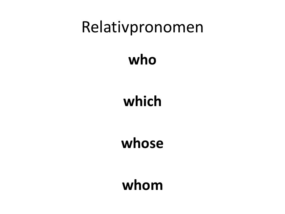 A relative pronoun replaces a noun and refers back to a NOUN in the previous clause It must agree in GENDER with the noun in the previous clause BUT the case of the relative pronoun depends on its role in the relative clause Verbs in the relative clause are positioned at the end.