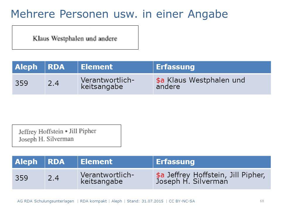 AlephRDAElementErfassung 3592.4 Verantwortlich- keitsangabe $a Klaus Westphalen und andere Mehrere Personen usw.