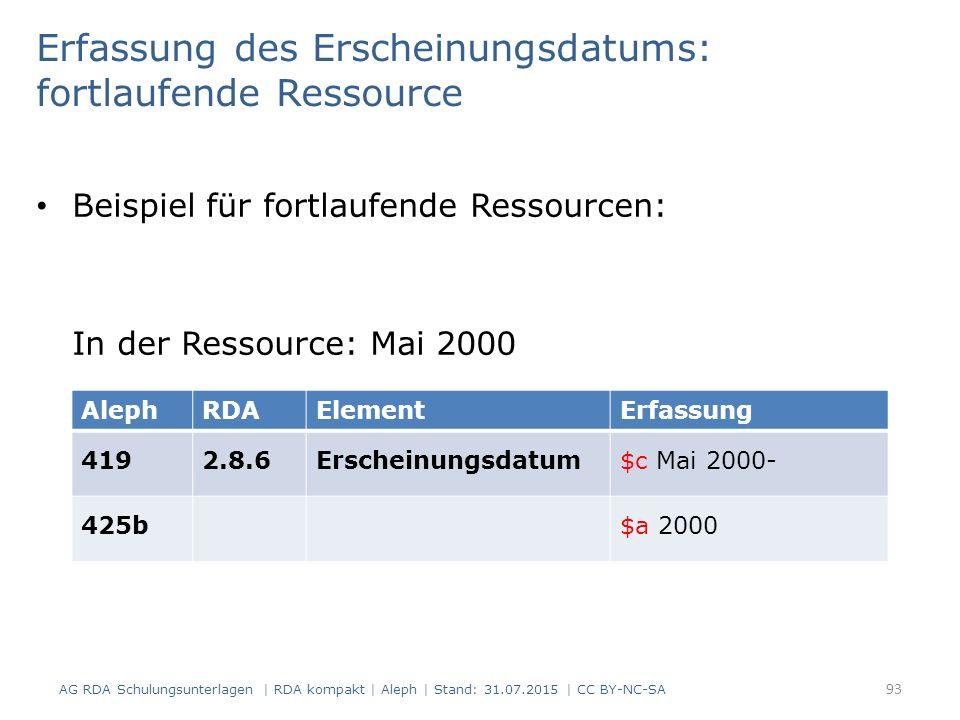 Erfassung des Erscheinungsdatums: fortlaufende Ressource Beispiel für fortlaufende Ressourcen: In der Ressource: Mai 2000 AlephRDAElementErfassung 4192.8.6Erscheinungsdatum$c Mai 2000- 425b$a 2000 93 AG RDA Schulungsunterlagen | RDA kompakt | Aleph | Stand: 31.07.2015 | CC BY-NC-SA