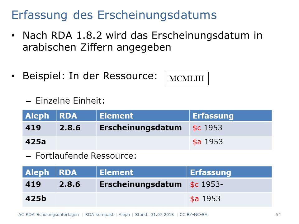 Erfassung des Erscheinungsdatums Nach RDA 1.8.2 wird das Erscheinungsdatum in arabischen Ziffern angegeben Beispiel: In der Ressource: – Einzelne Einheit: – Fortlaufende Ressource: AlephRDAElementErfassung 4192.8.6Erscheinungsdatum$c 1953 425a$a 1953 AlephRDAElementErfassung 4192.8.6Erscheinungsdatum$c 1953- 425b$a 1953 MCMLIII 94 AG RDA Schulungsunterlagen | RDA kompakt | Aleph | Stand: 31.07.2015 | CC BY-NC-SA