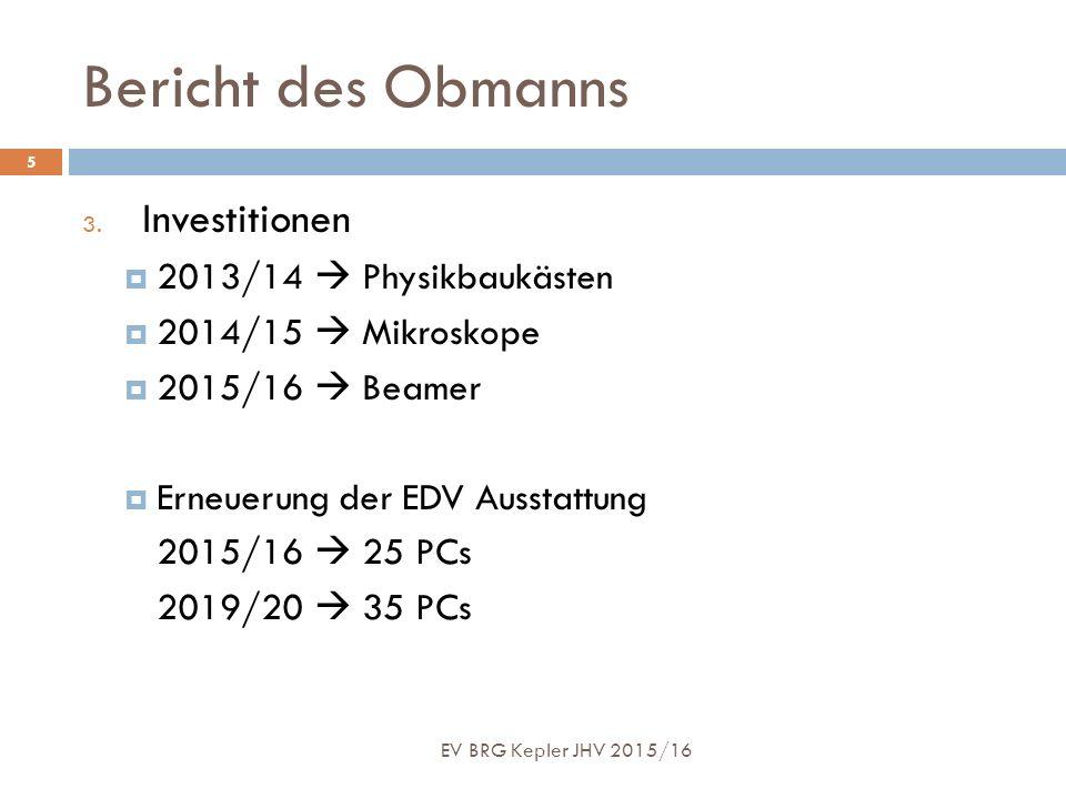 Bericht des Obmanns EV BRG Kepler JHV 2015/16 5 3. Investitionen  2013/14  Physikbaukästen  2014/15  Mikroskope  2015/16  Beamer  Erneuerung de